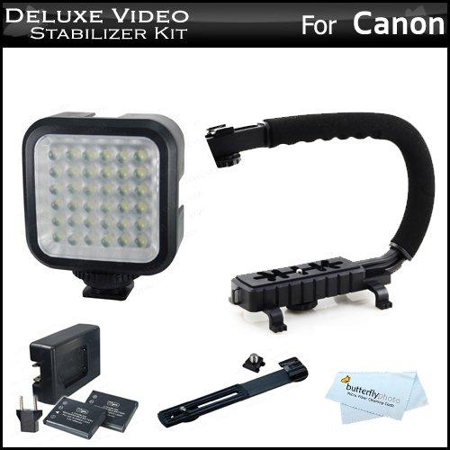 Deluxe Led Video Light + Video Stabilizer Kit For Canon Vixia Hf G20, Vixia Hf R42, Vixia Hf R40, Vixia Hf R400, Vixia Hf M52, Vixia Hf M50, Vixia Hf M500, Vixia Hf R32, Vixia Hf R30, Vixia Hf R300 Hd Camcorder