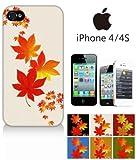 スマホケース iphone4s iPhone4s (iPhone 4s) ハードケース カバー ジャケット 和柄 葉 もみじ 紅葉 秋-sslink
