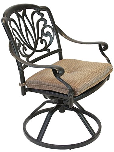 Heritage Outdoor Living Elisabeth Cast Aluminum Swivel Rocker With Seat Cushion - Antique Bronze front-909549