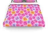 Kess InHouse 68 by 88-Inch Julia Grifol My Pink Garden Duvet Cover, Twin