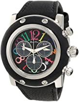 Glam Rock Unisex GR11101 Miami Chronograph Black Mother-Of-Pearl Dial Black Leather Watch