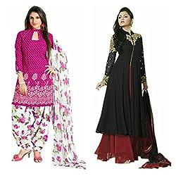 Sky Global Women's Printed Unstitched Regular Wear Salwar Suit Dress Material (Combo pack of 2)(SKY_DC_5052)(SKY_532_Pink)(Dress_220_FreeSize_Black)