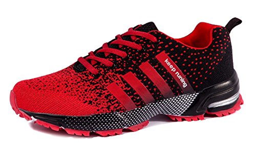 JiYe Athletic Shoes Men's Women's Outdoor Tennis Jogging Walking Fashion Sneaker,Running Shoes,Black Red,7.5US-Women/6.5US-Men