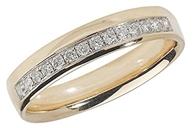 Diamond Wedding Ring Grain Set 9ct Yellow Gold 0.16ct