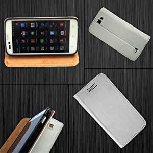 i-KitPit - PU Leather Flip Case Cover For Micromax Bolt A35 (WHITE)