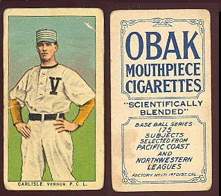 1910 obak (T212) 175 subjects (Baseball) Card# 33 carlisle of the Vernon Good Condition