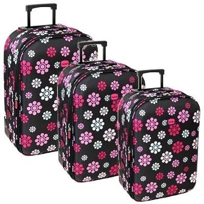 Karabar Super Lightweight Set of 3 Expandable Suitcases (Daisy Black)