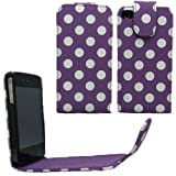 Sleek Gadgets - Purple Polka Dots Series Flip Case Cover for Apple iPhone 4, iPhone 4S, 4 S 8GB, 16GB