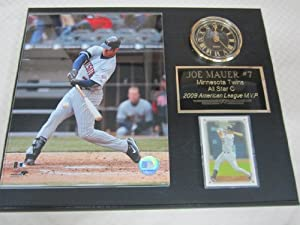 Joe Mauer Minnesota Twins Collectors Clock Plaque w 8x10 Photo and Card by J & C Baseball Clubhouse