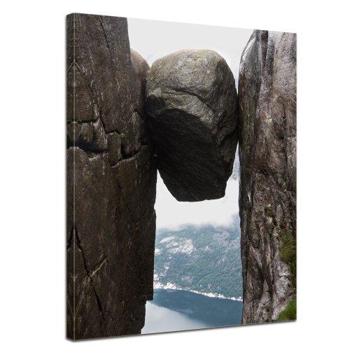 """Bilderdepot24 Leinwandbild """"Kjeragbolten in Norwegen """" - 50x70 cm 1 teilig - fertig gerahmt, direkt vom Hersteller"""