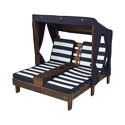 KidKraft Outdoor Double Chaise Lounge, Espresso/Navy/White (Outdoor Kid Furniture compare prices)