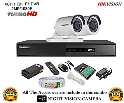 Hikvision-DS-7204HQHI-E1-4CH-Dvr,-2(DS-2CE56DOT-IR)-Dome-Camera-(With-Mouse,-Remote,-1TB-HDD,Cable-,-Bnc&Dc-Connectors,Power-Supply)