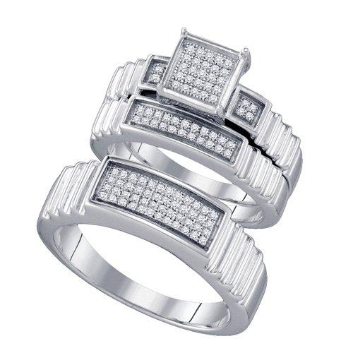 Sterling Silver 1/4 ct. Diamond Trio Engagement Set