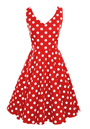 Ixia Classic Retro Polka Dot V-Neck Tea Length Swing Dress-Red-Small