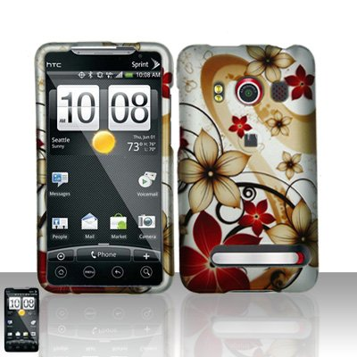 Rubberized Gold Red Flower Snap on Design Case Hard Case Skin Cover Faceplate for Sprint Htc Evo 4g