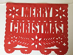 Christmas large PLASTIC Mexican Papel Picado banner 16 feet long the signs as pictured. by Colors of Mexico