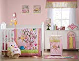 Kids Line Dena Happi Tree 6 Piece Crib Set, Pink