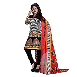 Shree Hari Creation Women's Poly Cotton Unstitched Dress Material (239_Black_Free Size)