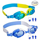 Kid Swim Goggles,Swimming Glasses for Children and Early Teens from 3 to 15 Years Old, Anti-Fog, Waterproof&UV Protection,With Ear Plugs and Nose Clip,2 Pack By Gowave