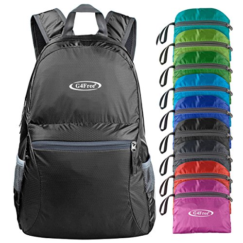 G4Free Ultra Lightweight Packable Backpack Hiking Daypack ,Handy Foldable Camping Outdoor Backpack(Black)