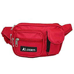 Everest Unisex Fabric Multiple Pockets Fanny Waist Pack, Red