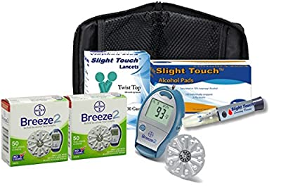 Bayer Breeze Meter, 100 Bayer Breeze Test Strips, 100 Lancets and 100 Alcohol Prep Pads