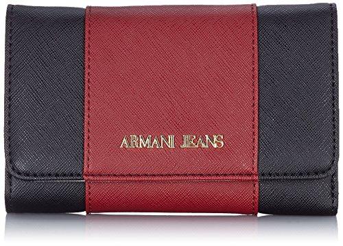Armani Jeans928585CC857 - Portafogli Donna , Rosso (Rot (BURGUNDY-NERO-GRIGIO 07276)), 10x2x18 cm (B x H x T)