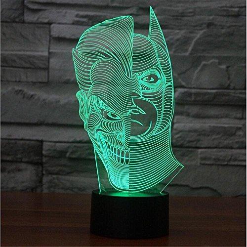Double-sided luci faccia colorata persone 3D acrilico lampada illusione lampada luce luce tocco visivo graduale prospettiva visiva