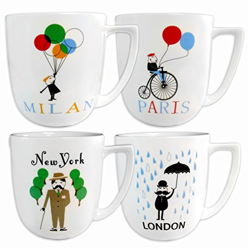 Francois Et Mimi Porcelain World Cities Coffee Mugs, 14-Ounce, Set Of 4