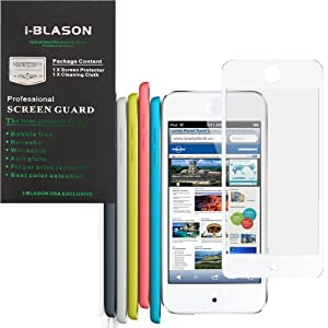 i-Blason HD Clear Bubble Free Screen Protector for New Apple iPod Touch iTouch 5G 5th Generation 32G 64G 4G Reusable Multi Color (White)