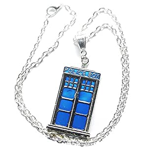 Charm Buddy Doctor Who Dr Who Tardis Pendant Necklace with Gift Bag Ladies Mens Boys Girls Jewellery