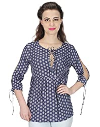 Miway Women's Print Viscose Ethnic Blue Tunic (Blue, Small)