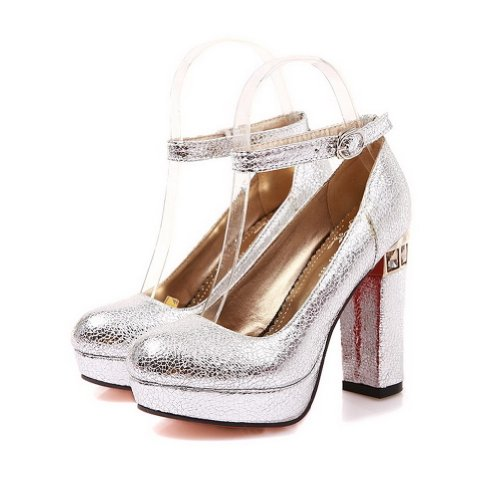 Voguezone009 Womens Closed Round Toe High Heel Platform Pu Soft Material Solid Pumps With Buckle, Silver, 7 B(M) Us