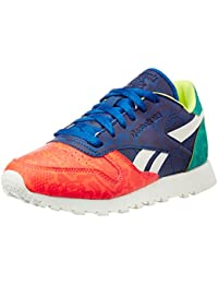 Reebok Women's Cl Lthr Snake Red, Royal, Green And White Leather Sneakers - 4 UK/India (37 EU)(6.5 US)
