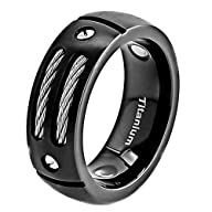 8mm Men Black Titanium Ring Wedding B…
