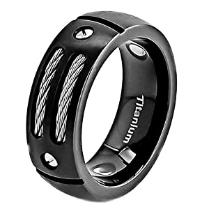 8mm Men's Black Titanium Ring Wedding Band with Stainless Steel Cables and Screw Design Wedding Ring Size 10.5