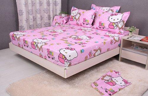 Cliab Hello Kitty Sheet Set Queen Kids Queen Size Sheet 100% Cotton 6 Pieces