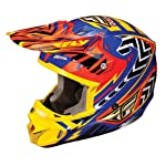 Fly Racing Kinetic Pro Andrew Short Adult MX/Off-Road/Dirt Bike Motorcycle Helmet - Orange/Blue/Yellow / Large