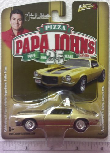 New Johnny Lightning Papa Johns Pizza 1971 Gold Chevy Camaro Z28 Die Cast Replica 1:64 Scale Papa Johns Car - 1
