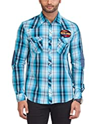 Zovi Men's Cotton Slim Fit Blue And White Checkered Casual Shirt With Applique - Full Sleeves (10692526601)