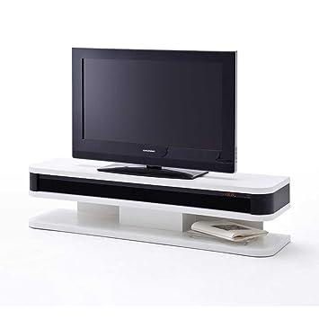TV Tisch mit Soundsystem Weiß Schwarz Pharao24