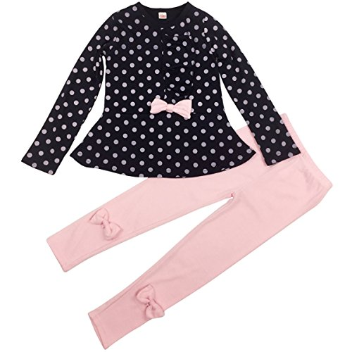 Jastore Baby Girl Cute 2pcs Set Children Clothes Suit Top and Pants Fall Clothes (7T, Navy Dot)