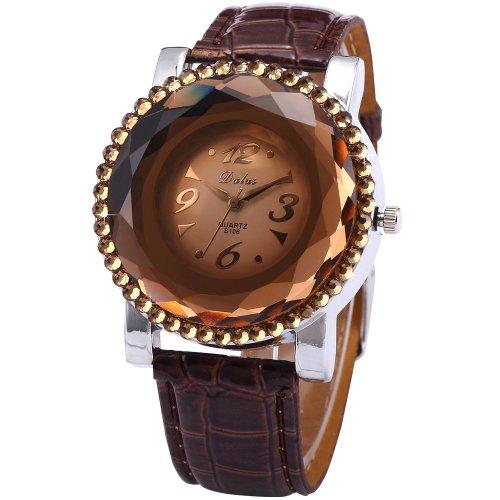 Dalas Luxury Ball Party Dress Crystal Bezel Brown Leather Lady Girl Quartz Wrist Watch WAA456