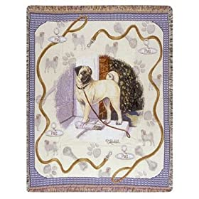 Pug Dog Tapestry Throw