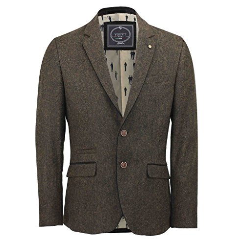Mens-Brown-Wool-Tweed-Fitted-Blazer-Black-Suede-Patch-Vintage-Herringbone-Jacket