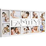 """Large 6"""" x 4"""" FAMILY Cut Out Multi Picture Aperture Photo Frame. Available in Black & White (White)"""