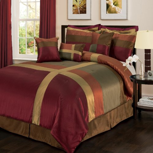 King size bedding sets lush decor iman 8 piece comforter for Burgundy and gold bedroom designs