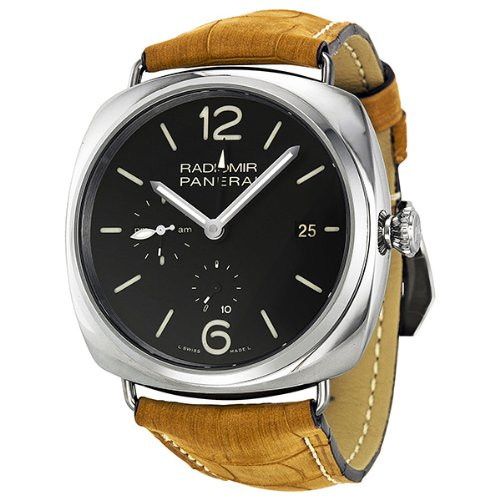 Panerai Radiomir 10 Days GMT Black Dial Brown Leather Strap Mens Watch PAM00323