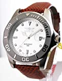 Mens Invicta Leather Rotating Bezel Date Watch 0005-BR03