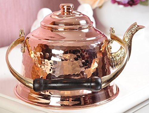 DEMMEX 2017 Heavy Gauge 1mm Thick Hammered Copper Tea Pot Kettle Stovetop Teapot (1.6-Quart) (Copper Kettle Pot compare prices)